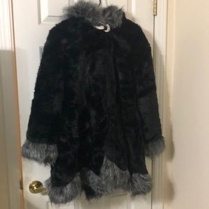 Fushi black faux fur hood coat with gray trim NWT